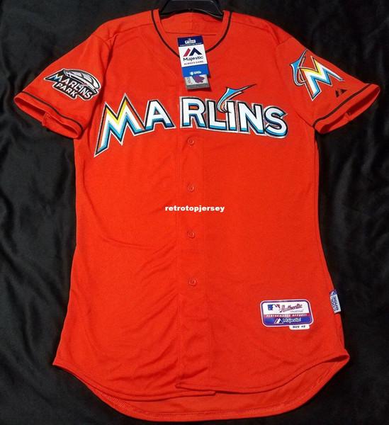 MAJESTIC Günstige MIAMI ORANGE Blank Cool Base Jersey Herren genäht Großhandel groß und groß Größe XS-6XL Baseball Trikots