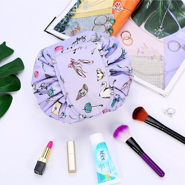 Kore VELY Tembel Kozmetik Çantası Moda Kadın İpli Makyaj PouchTravel Katlanabilir Depolama Büyük Unicorn Yıkama Çanta 08