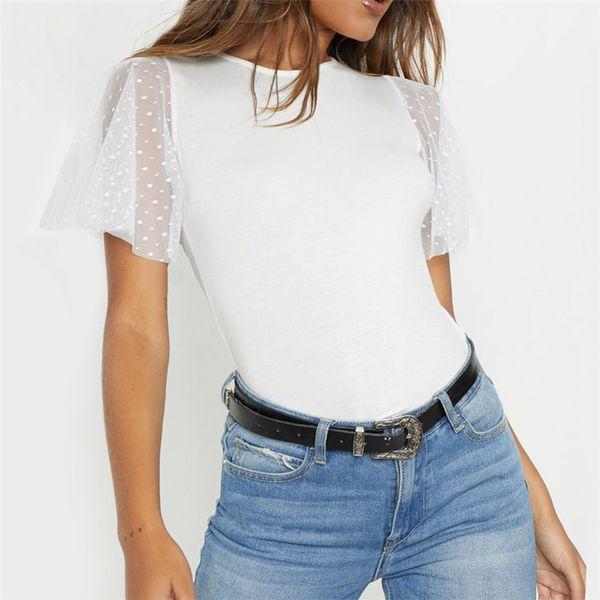 Women Summer Lace Patchwork T Shirt Ruffle Short Sleeve T-shirt Tunic Elegant Casual Tops For Women O-neck White Mesh Tops Tees