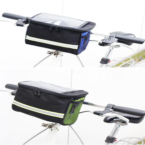 Bicycle Front Bag Foldable Pvc Multi Color Men Women Large Capacity Panniers Double Open Zipper Handlebar Diagonal Package 4 2by cc