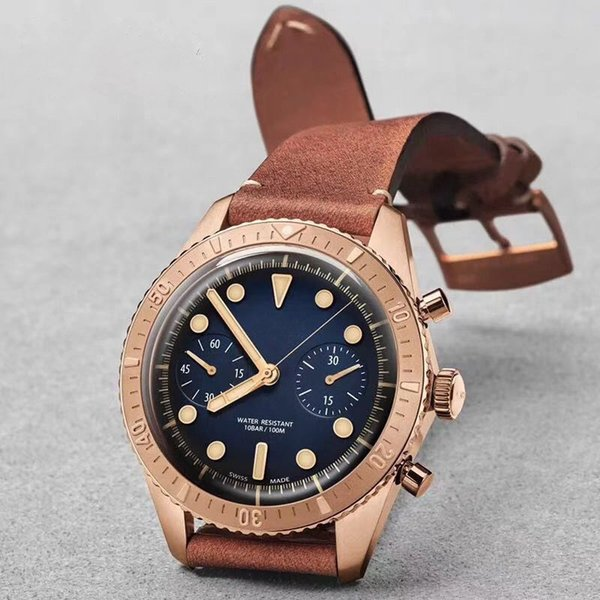 Spring 2019 latest men's fashion rose gold watch silver watch VK timing function quartz core business Watch