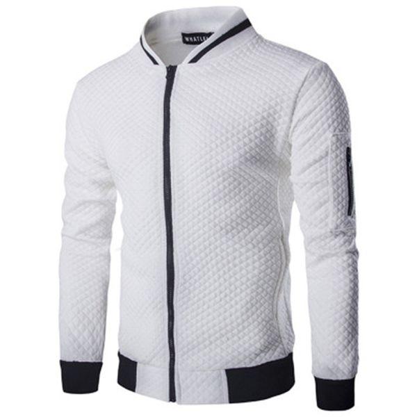 Automne À Capuche Hommes Vêtements2019 Casual Zipper Veste Col Montant Sweat Blanc Plaid 3D Plaid Korean Sportswear