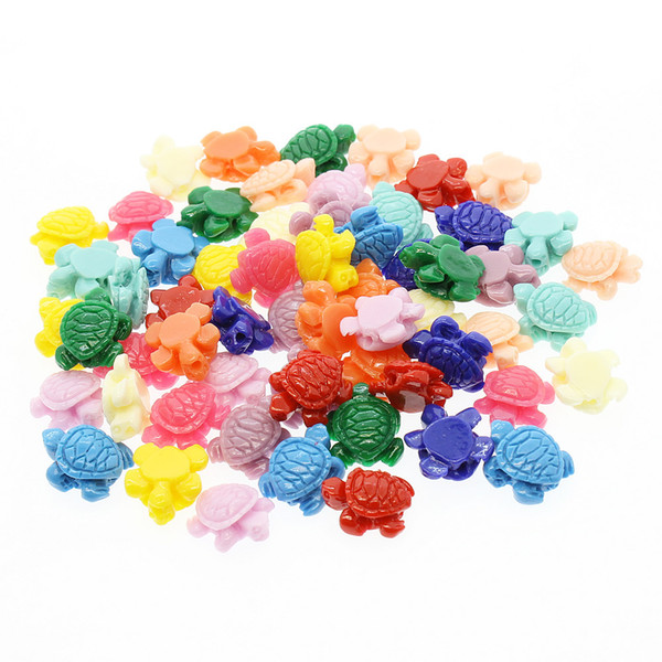 top popular 100pcs Mix Color Carving Little Sea Turtle Coral Beads 12mm Loose Small Tortoise Coral Beads DIY Jewelry Making Accessories 2021