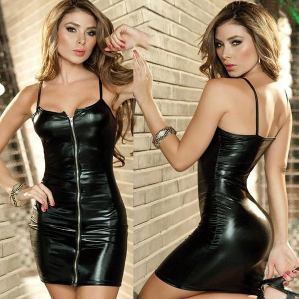 Lencería sexy Tallas Grandes Mujeres Vestido Erótico Faux Leather Zip Clubwear Ropa Exótica Bondage Sexual Trajes Ropa Interior M-XXL C19010801
