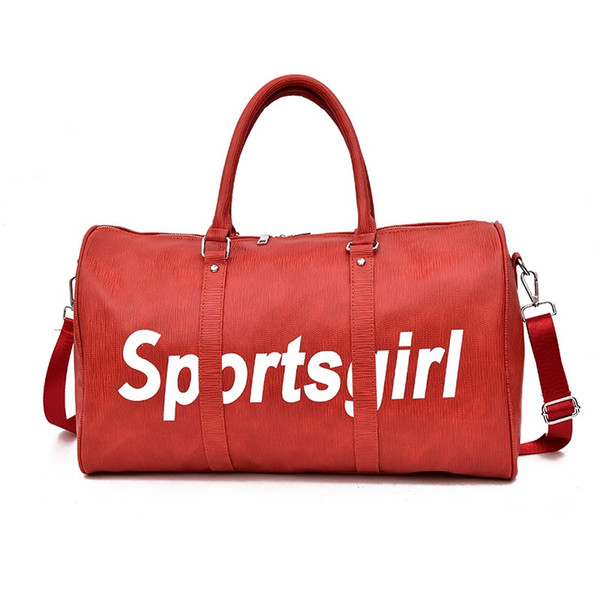 JUFIT 2018 New Sport Leather Handbags Outdoor Gym Bags For Women Men Fitness Large Capacity Leather Travel Duffle Bag Red #258143