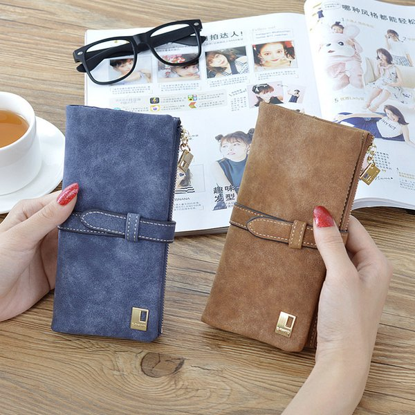New Arrive Women Brand Long Purse Clutch 2019 Fashion Retro Matte Stitching Wallet Women Casual Hasp Dollar Price Wallet Handbag
