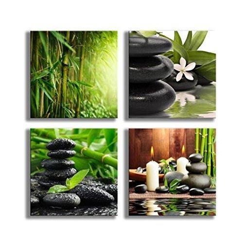Картины Бамбук Зеленые Картины с Zen Stone Свечи Цветочный Принт на Холсте Wall Art для Украшения Дома Ванная Комната Гостиная