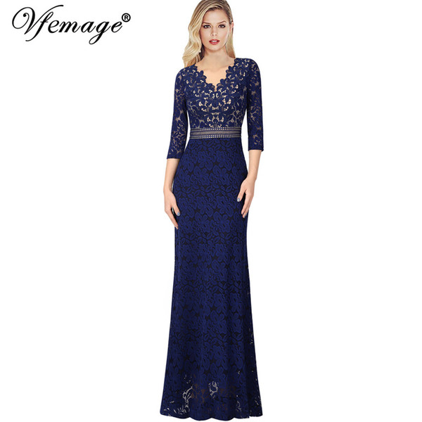 wholesale Womens V Neck Floral Lace Keyhole Back Formal Evening Prom Gowns Mother of the Bride Wedding Party Gala Maxi Dress 1018
