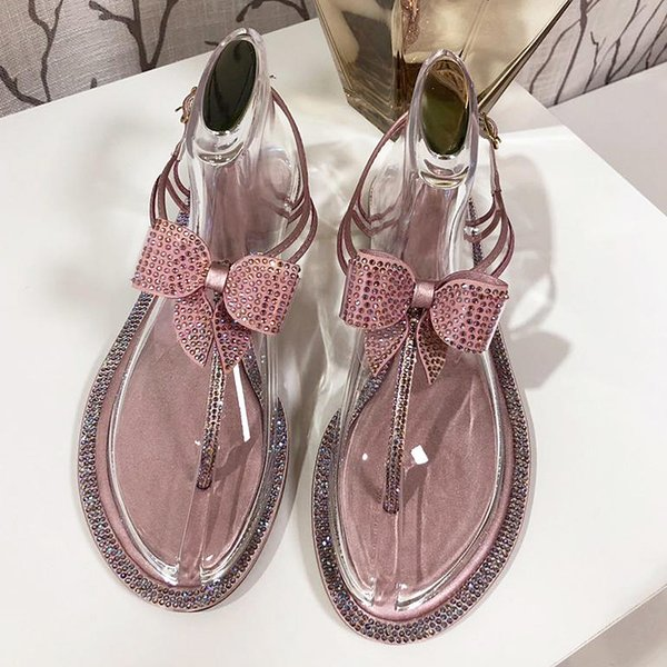 2019 new high quality womens flat shoes, leather bottom shoes, casual rhinestone sandals, flip-flops with original packaging qt