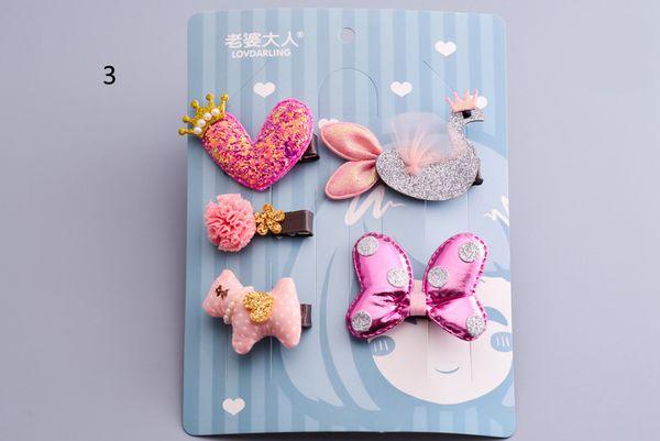 Новорожденные девочки дети аксессуары для волос заколки для волос Заколки набор красивая принцесса Сердце Корона галстук-бабочка лебедь головной убор прическа мода подарок челнока