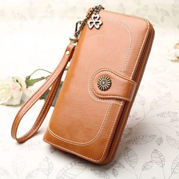 Women Clutch 2018 New Wallet Split Leather Wallets Female Long Wallet Women Zipper Purse Money Bag For Iphone 7 Plus Y190701