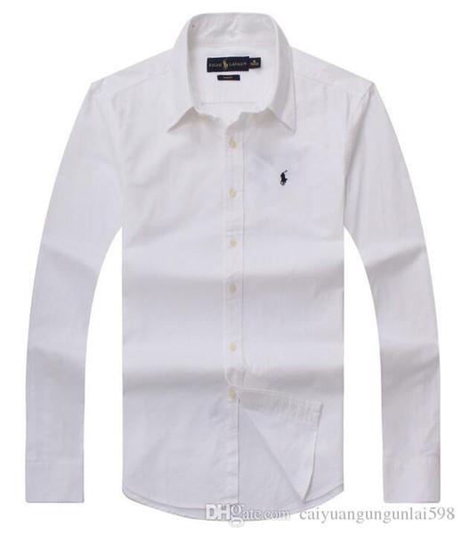 Venta al por mayor 2019 otoño e invierno de los hombres de manga larga camisa de vestir de los hombres puros casual POLO camisa moda Oxford camisa social marca clo