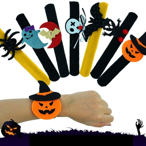 Pulsera de Halloween Calabaza Fantasma Murciélago Araña Muñequera Muñeca Niños Adulto Halloween Loop Decoración Fiesta Favor HHA557