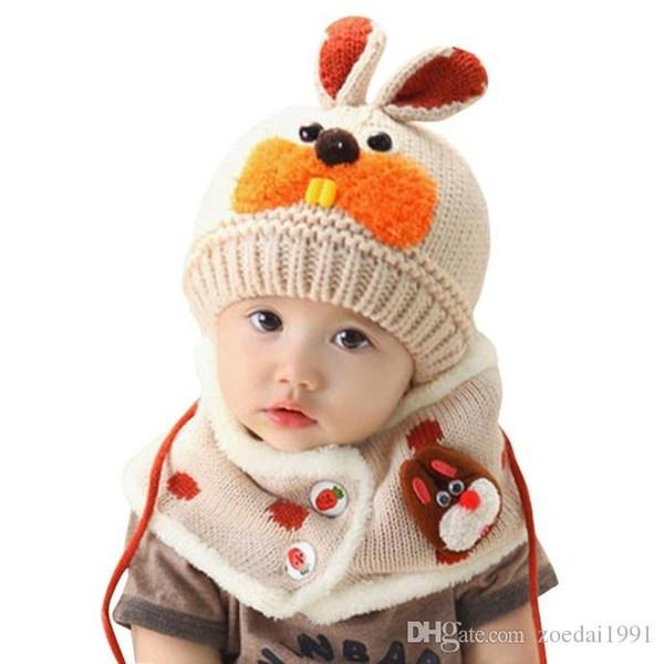 Baby knit cap Warm Hat + Scarf 2pcs suit Scarf Boys Girls Infant Children Rabbit Teeth Child scarves Hat Caps handmade