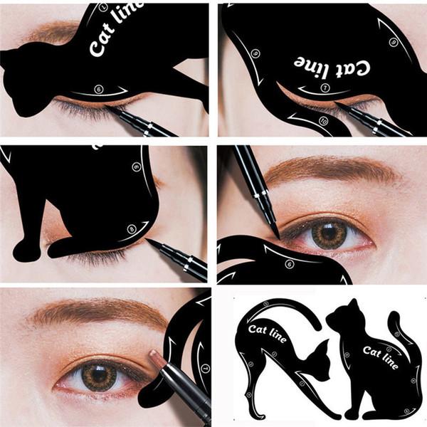 2pcs Women Cat Line Pro Eye Makeup Tool Eyeliner Stencils Template Shaper Model