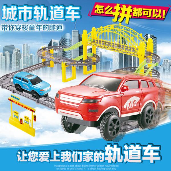 Baidu Electric Track Toy Car Diy Assembly Track Hot Selling Puzzle Niños Juguetes Eléctricos Modelo de Tren Regalo para Boy Kid