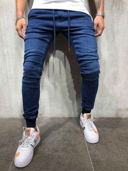 Erkek Rahat Spor Jogging Yapan Kot Bahar Elastik Bel Atletik Pantalones Pantolon