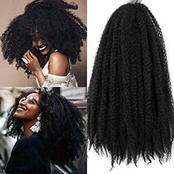 La Havane Tresses Cheveux synthétiques Afro Kinky 6Pace / Lot 18 pouces Femmes Mode Twist Crochet Tressage Hair Extensions (Noir Naturel)