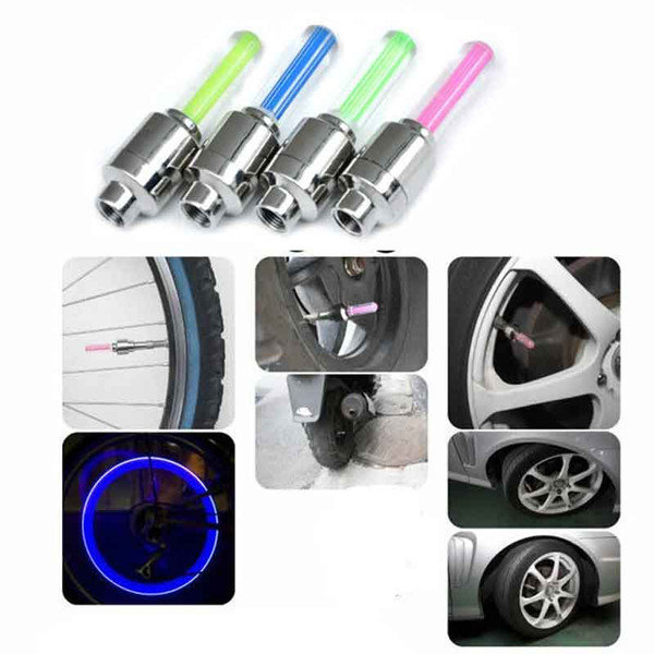 best selling 2PCS Motion Activated LED Glow Bike Car Motorcycle Tire Valve Caps Wheel Light Color