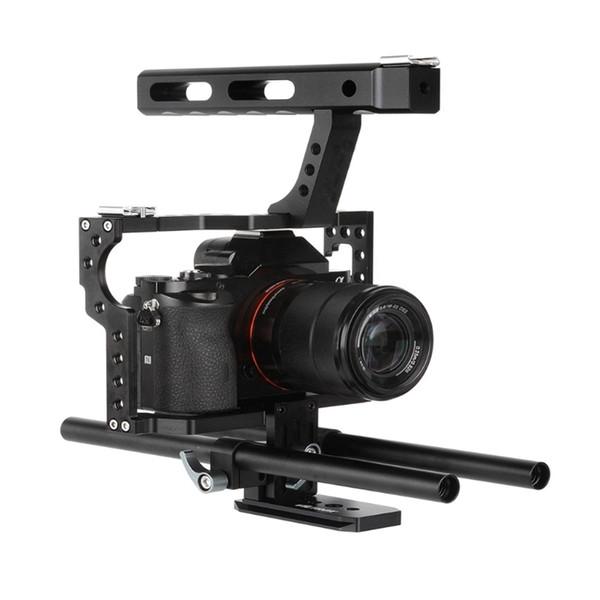 Tragbare Kamera Video Stabilizer Cage Rig + Griffgriff-Kit für DSLR