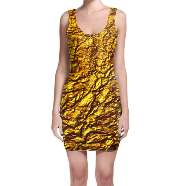 Custom made - Create your own designs Ancient Gold 3D sublimation print milk silk Dress