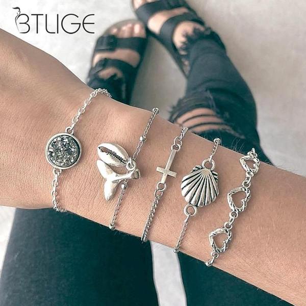 5 pezzi / set Bracciale donna argento Beach Wind Shell Croce intagliata cuore conico Fishtail Ball Bracelet Bracciali a catena