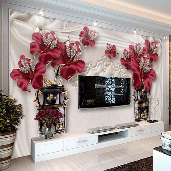Custom Photo Wallpaper 3D European Style Jewelry Flower Living Room Bedroom TV Background Wall Murals Wallpaper For Walls