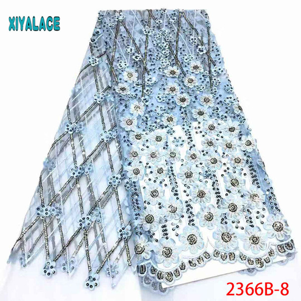 Latest Applique Nigerian French Lace Fabric Fashion African Tulle Fabric For Wedding African Lace Fabric With Beaded PGC2366B-1