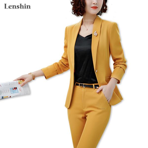 Lenshin 2 Pieces Set Shawl Collar Formal Pant Suit Office Lady Uniform Designs For Women Business Suits Work Wear Q190521