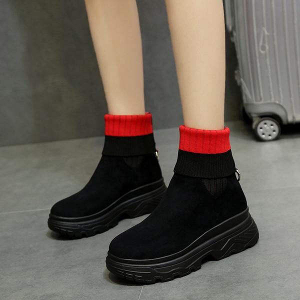 Mode Zipper Plate-Forme Cheville Chaussures Dame Ceinture Boucle Knight Bottes Femmes Style Britannique Punk Martin Bottes hjn89