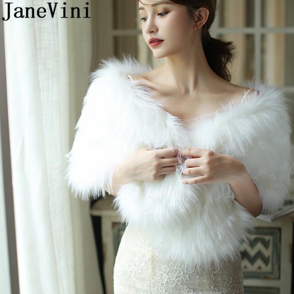 Piel blanca JaneVini Winter Wrap cordón de las mujeres del cabo elegante de la chaqueta de las señoras de la piel de imitación de novia robó Chales de boda del hombro de la cubierta Bolero