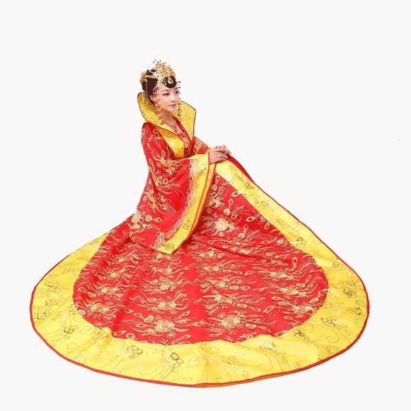 Hot Sale Stage Costume Dress Draggle-tail Dress queen of the tang dynasty princess clothing Chinese ancient perform costums