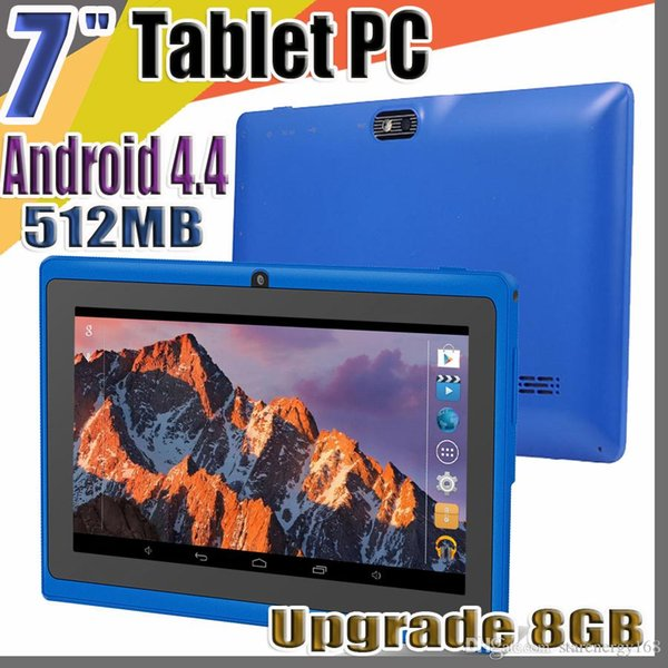 "50X 7"" Q88 Allwinner A33 7inch quad core Tablet PC Capacitive Android 4.4 KitKat 512MB Upgrade 8GB WIFI dual Camera 1.5GHz flash C-7PB"