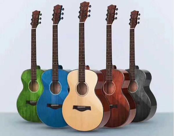 Guitarra de fábrica guitarra acústica de 41 pulgadas guitarra de chapa de viaje de 36 pulgadas mano frotar color cara solo piano envío gratis