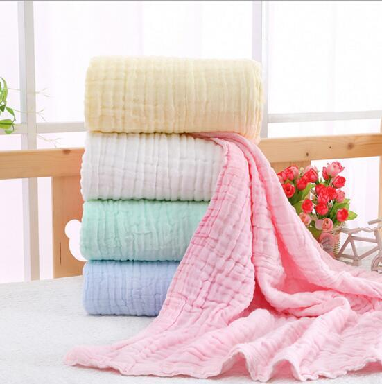 Infant Muslin Swaddles 6 Layers 100% cotton Solid Colors Blankets Nursery Bedding Newborn Swadding Bath Towels 105x105cm toddler Blankets