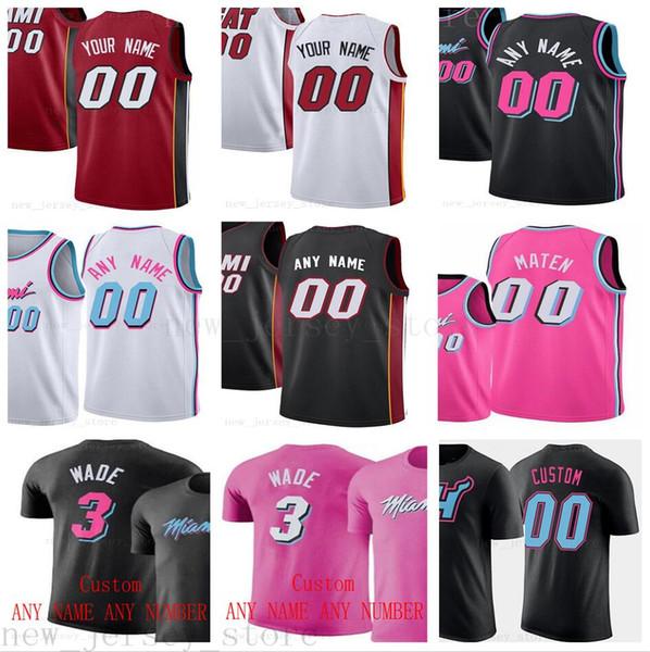 Maglie MiamiHeatJerseys stampate su misura da uomo di alta qualità 2019 New Black White City Red Pink Jersey. Messaggio Qualsiasi numero e nome nell'ordine.