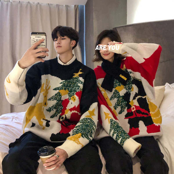 2019 2018 Men\u0027S Latest Trend Winter Clothing Christmas Elk Half High Collar  Couples Lovers Thicking Fashion Discount Loose Sweater From Amandal,