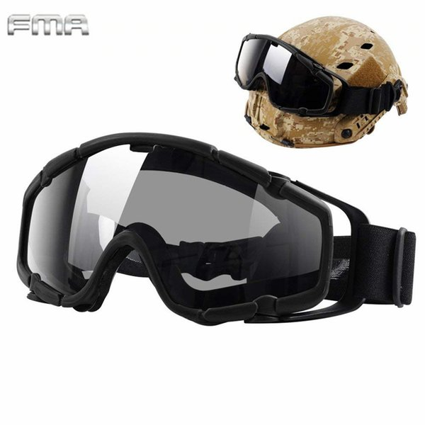 FMA Helmet Goggles Tactical Ballistic Anti-Fog Goggles Safety Glasses for Helmets with Side Rails BK&Clean Lens