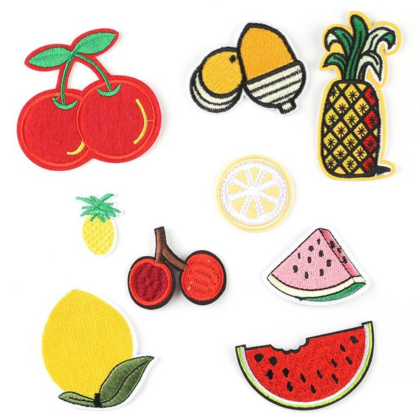 Pineapple Lemon Cherry Embroidered Patch Iron On Patch Sewing Applique Clothes Patch Stickers Apparel Accessories For Dresses