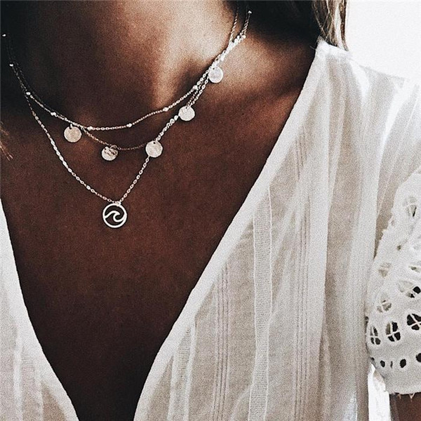 2017 Simple Gold Silver Color Chain Choker Necklace Long Beads Tassel Chocker Necklaces For Women collar collier ras du cou ALXY05