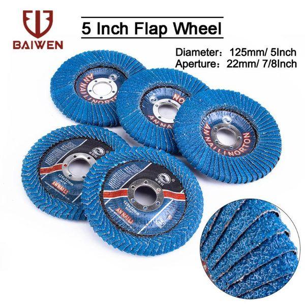 top popular 125mm Professional Flap Discs 5'' 2 5 10Pcs 60 Grit U-Type Abrasive Polishing Grinding Wheels Blades For Abrasive Tool 2021