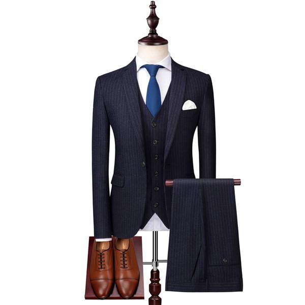Acheter Veste De Costume à Rayures Hommes Veste Pantalon Haut De Gamme Pour Homme Trois Pièces Asiatiques Taille S M Xl Xxl Xxxl De 19157 Du