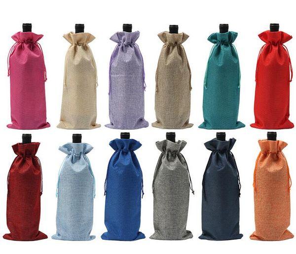 Juta Vinho Tampas de Cobre Champanhe Vinho Embalagem Cego Sacos de Presente Rústico Hessian Natal Mesa De Jantar De Casamento Decorar 16x36 cm