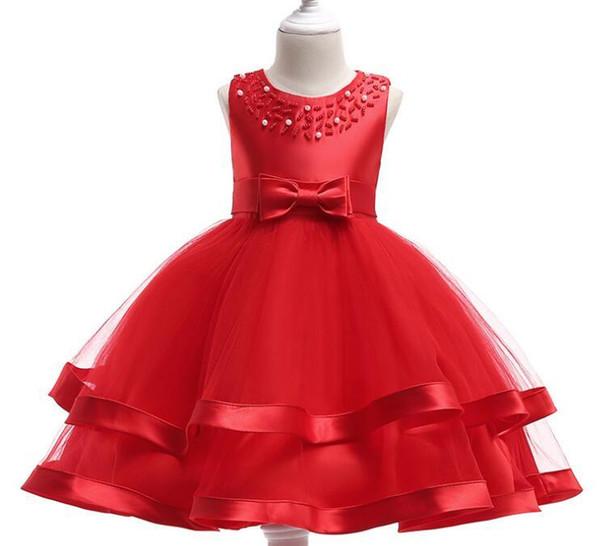 2019GG European and American fashion princess dress bow flower girl dress skirt gold thread embroidery girl cotton dress