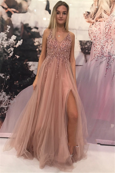 New Sexy High Slit Pink Prom Dress Long 2019 Beaded V-neck Tulle Party Gowns Women Evening Dresses Vestidos De Formatura