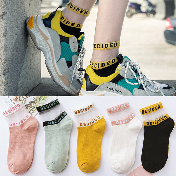 top popular Woman Korean Socks Transparent Cotton Girls Short Letter Striped Girls Students Black White Socks High Quality 2021