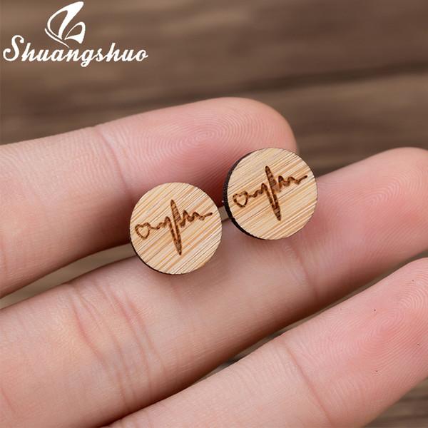 Shuangshuo Creative ECG Heart Ear Studs Stylish Wooden Heartbeat Earrings for Women Girl Minimalist Jewelry Valentine's Day Gift