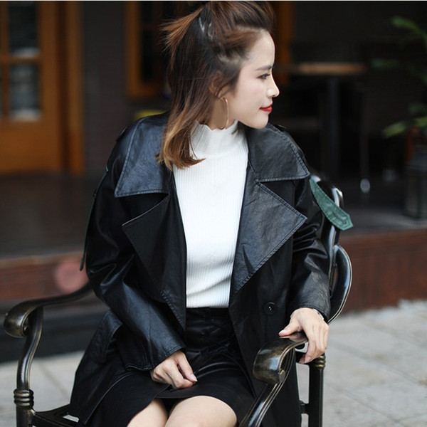 2018 Autumn Fashion Women Faux Leather Jacket Long Sleeve Soft PU Coat Turn-Down Collar Sashes Ladies Jackets Outwear