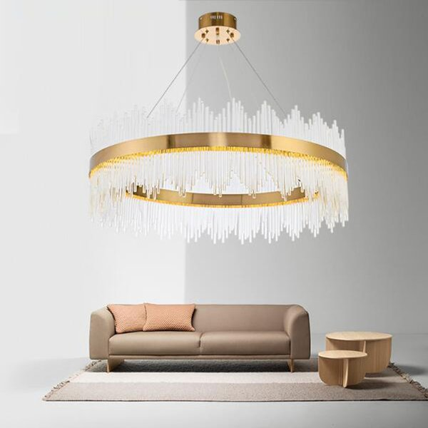 NEW Design Modern Crystal Round LED Pendant Lights Industrial Gold Bar Stair Dining Room Fixtures Single layer double layer