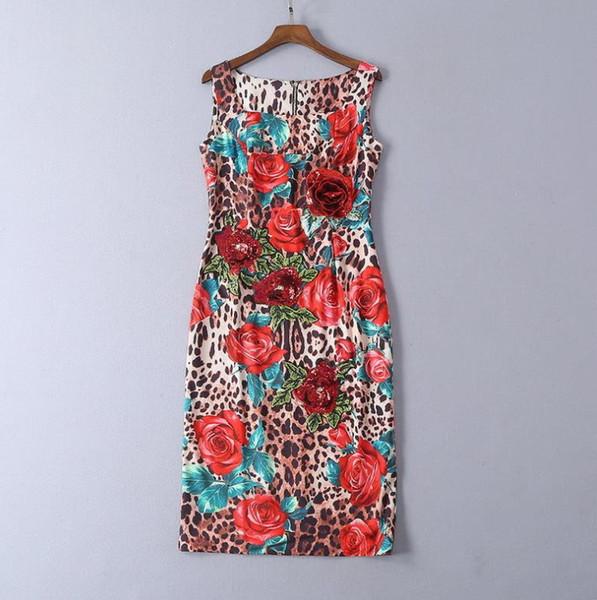 222 2019 Runway Dress Spedizione Prom Moda senza maniche in poliestere Flora stampa paillettes Piazza collo donna abiti di marca stesso stile SH